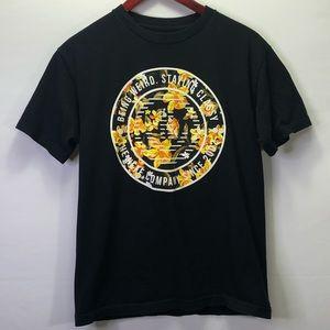 Neff Men's Black Orange Floral Graphic Shirt
